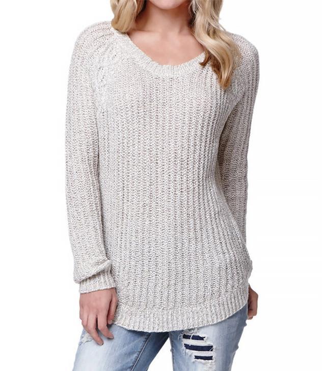 LA Hearts Long Sleeve Shirttail Hem Pullover Sweater