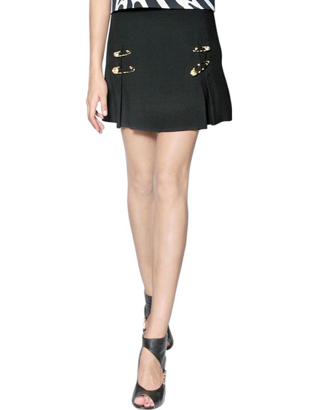 Versus Pin Embellished Pleated Satin Skirt