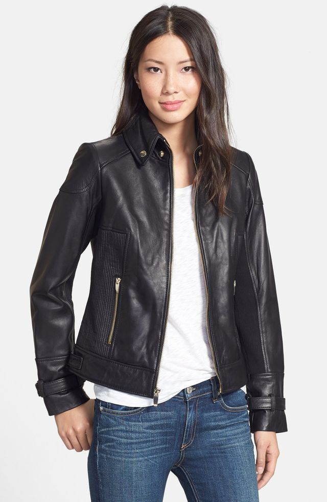 Via Spiga Ruched Side Leather Jacket