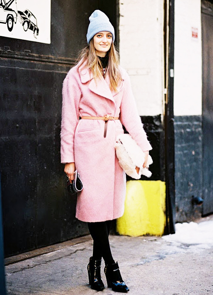 Pink Coat Grey Beanie Street Style
