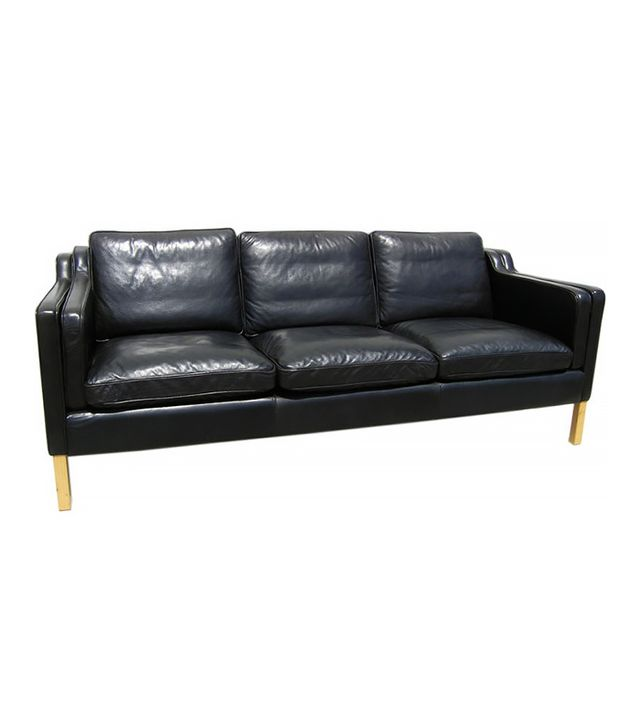 1stdibs Danish Black Leather Sofa