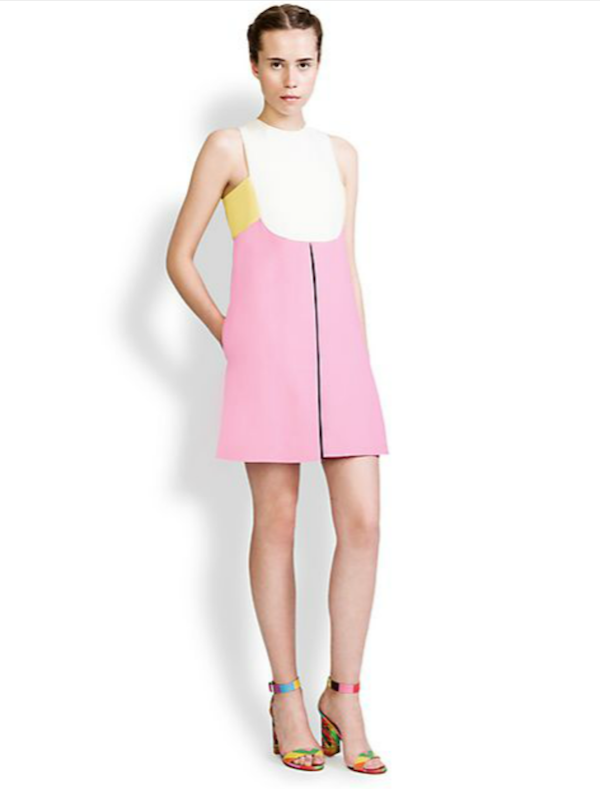 Valentino Colorblock Inverted-Pleat Dress