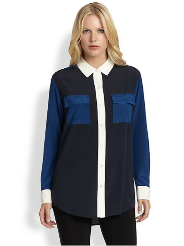 DKNY Silk Colorblock Blouse