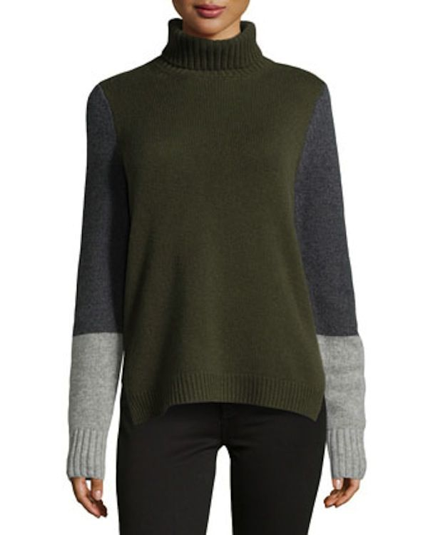Neiman Marcus Cashmere Colorblock Turtleneck Sweater