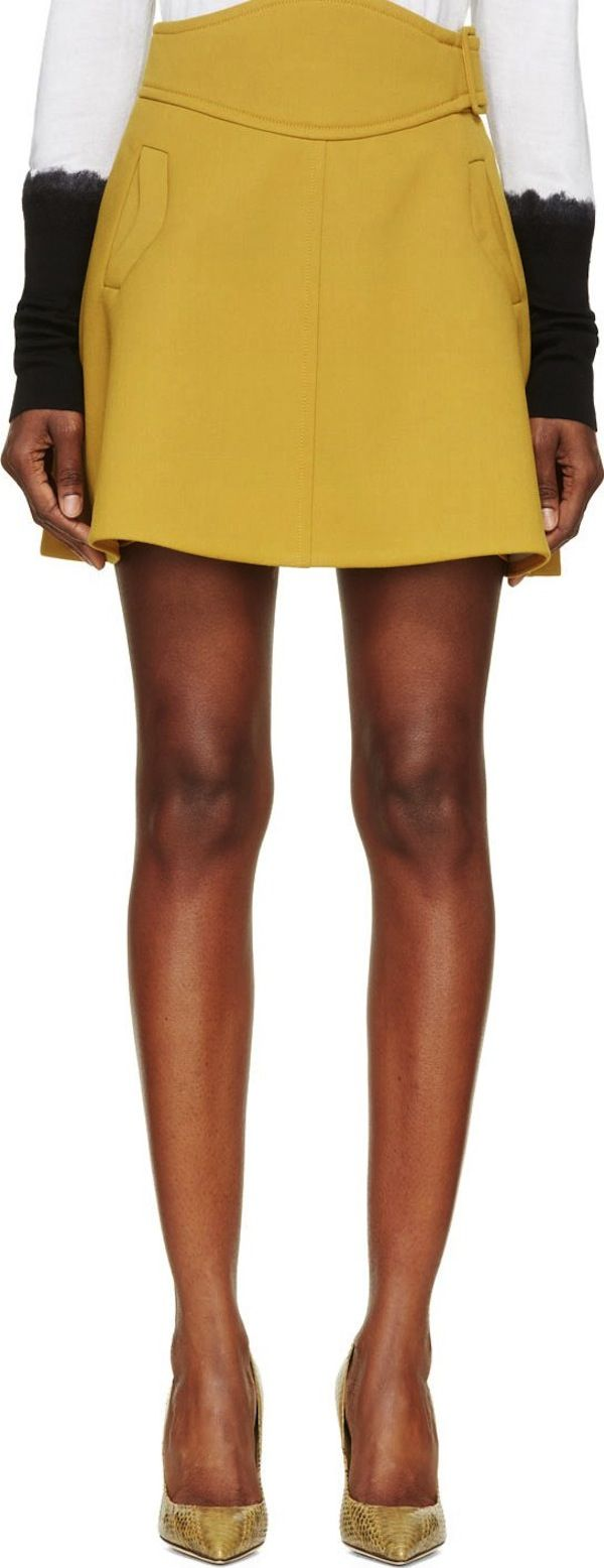 Carven Yellow A-Line Gabardine Skirt