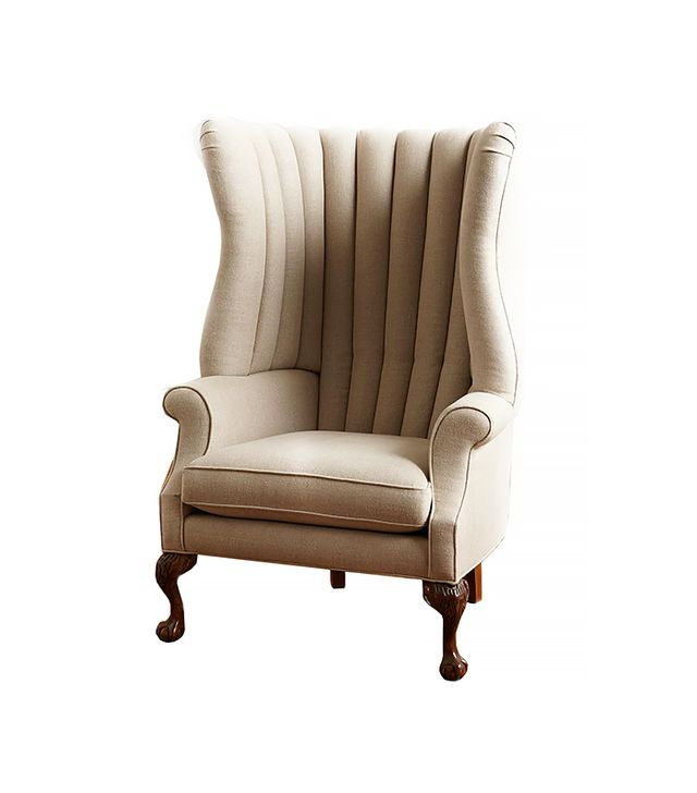 Anthropologie Linen English Fireside Chair