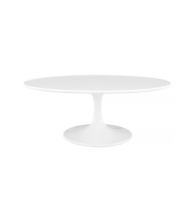 Lexmod Lippa Oval-Shaped Coffee Table in White