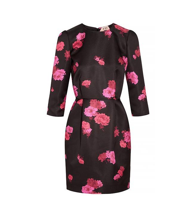 No. 21 Amelia Floreal-Print Duchesse-Satin Mini Dress