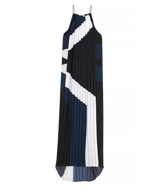 Tibi Maritime Border Striped Pleated Long Dress