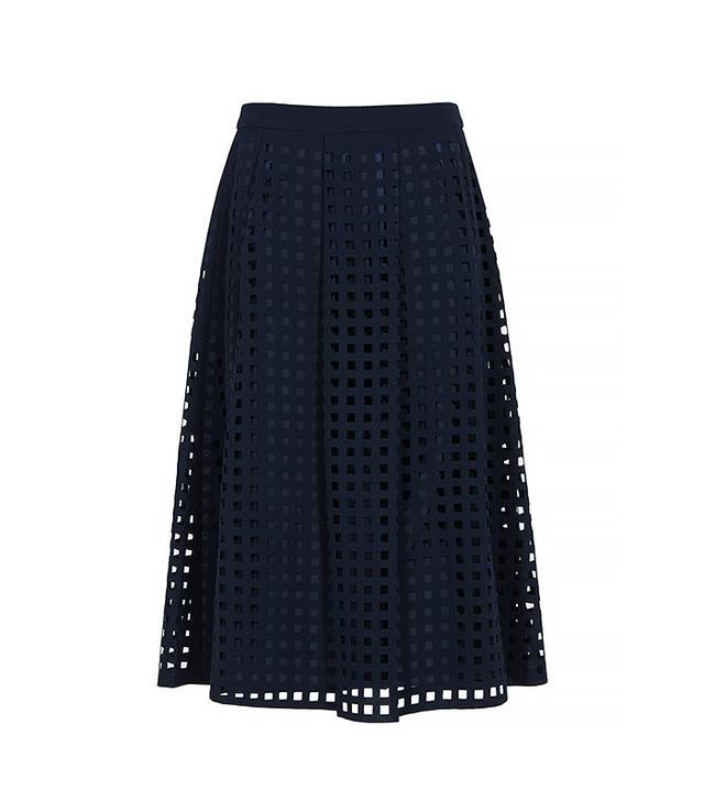 Reiss Kayan Flared Laser-Cut Midi Skirt