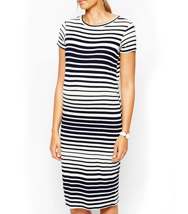 ASOS Maternity Exclusive Maternity Body-Conscious Midi Dress in Varigated Stripe