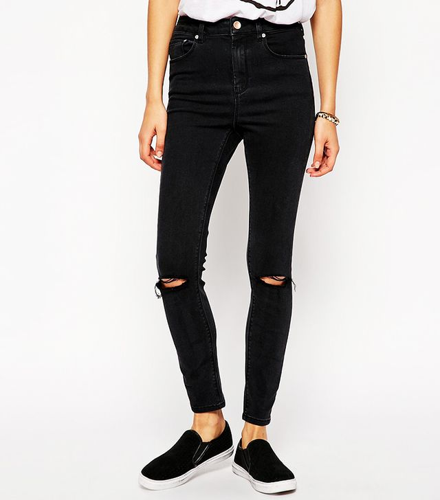 ASOS Ridley Skinny Ankle Grazer Jeans With Ripped Knees