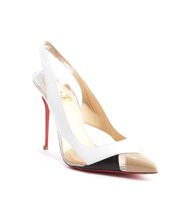 Christian Louboutin White Leather Air Chance 100' Sling Back Pumps
