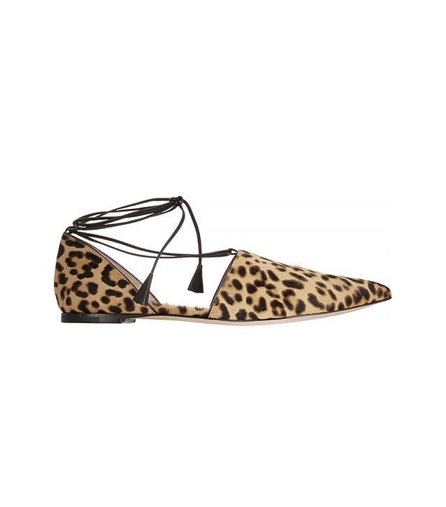 Gianvito Rossi Leopard-Calf Hair Point-Toe Flats