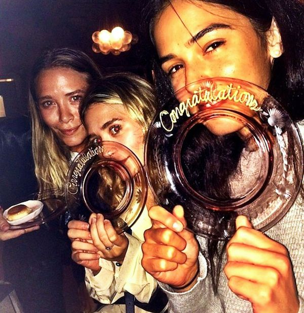 Mary-Kate and Ashley Olsen celebrating at ABC Cocina in New York with their friend.