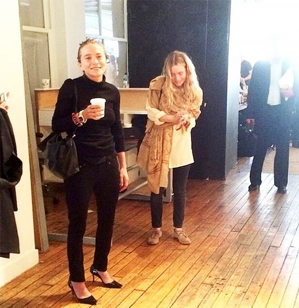 Mary-Kate and Ashley Olsen at The Row S/S 15 presentation during New York Fashion Week.