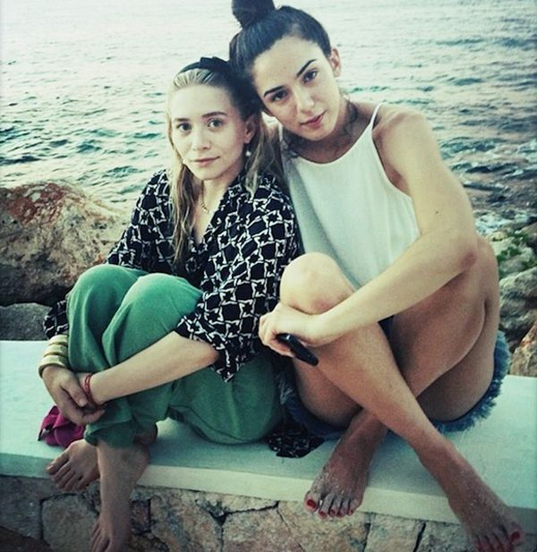 Ashley Olsen hanging out seaside with a friend.