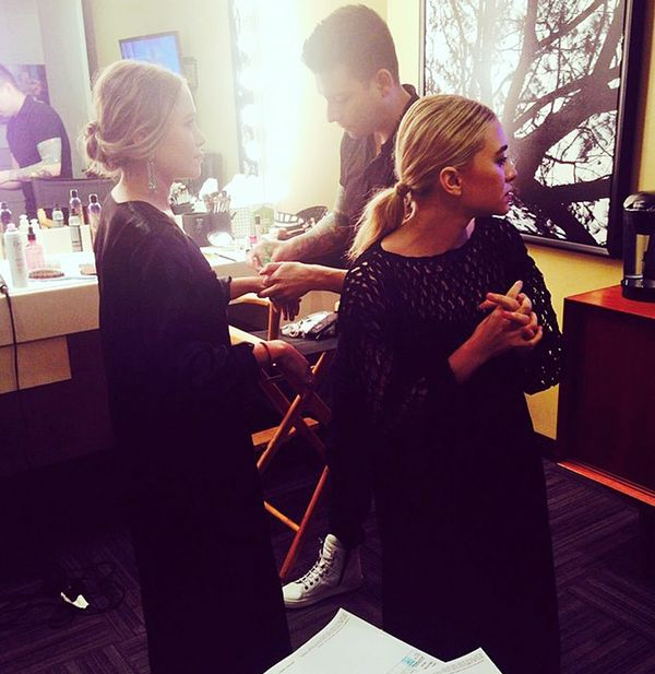 Mary-Kate and Ashley Olsen getting ready backstage before the Ellen Show.