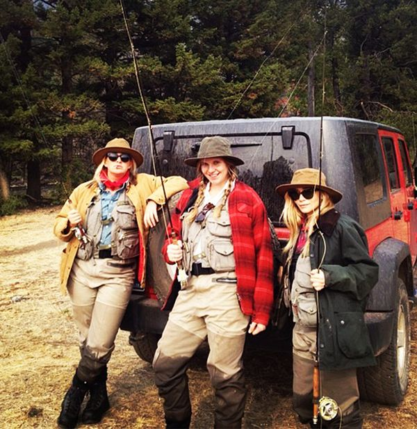Ashley Olsen fishing with friends in Montana.