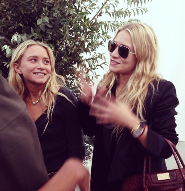 Mary-Kate and Ashley Olsen right after their show at New York Fashion Week.
