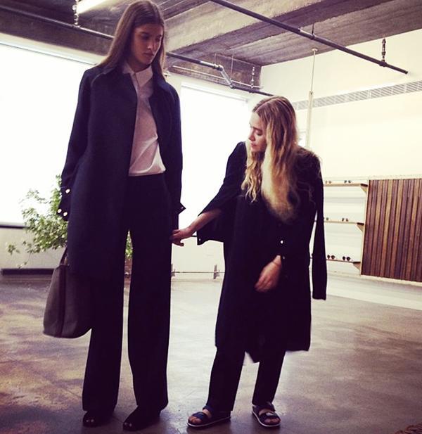 Ashley Olsen at The Row Resort 14 presentation with model Miriam Haney.