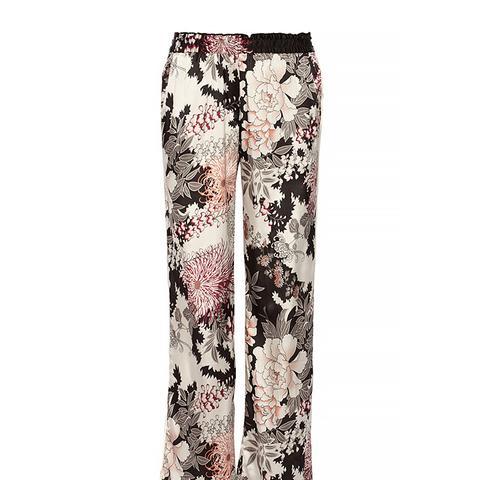 Night Flower Printed Satin Wide-Leg Pants