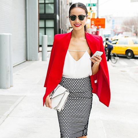Colours That Suit Brunettes: Jamie Chung in a Red Blazer