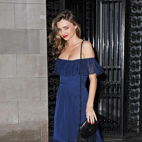 Colours That Suit Brunettes: Miranda Kerr in a navy dress