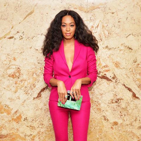 Colours That Suit Brunettes: Hot pink suit worn by Solange Knowles