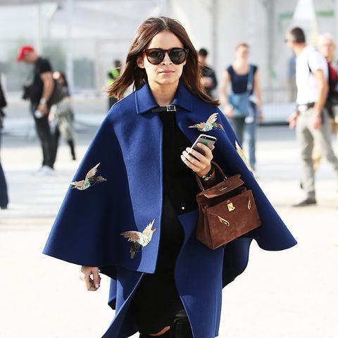 Colours That Suit Brunettes: Miroslava Duma in a navy blue cape