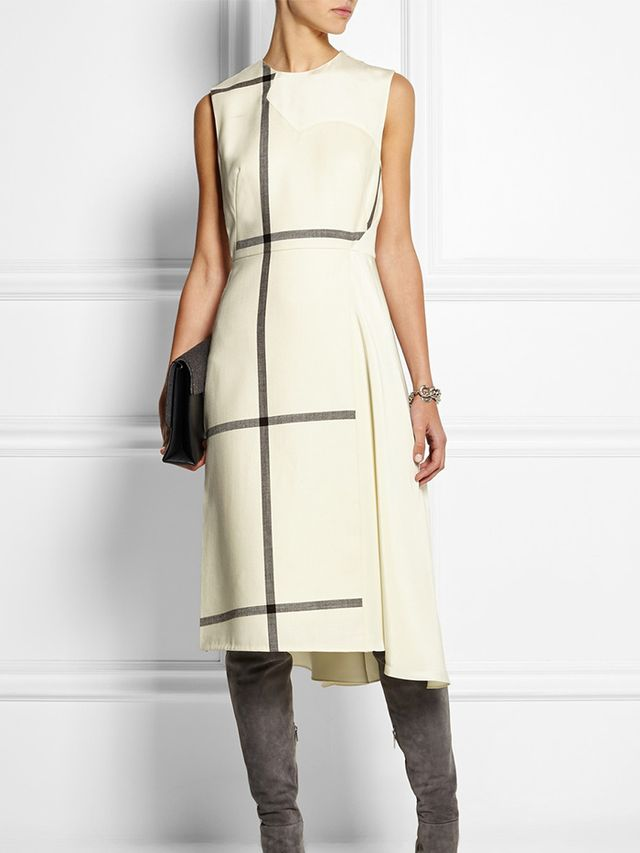 3.1 Phillip Lim Checkered Wool and Washed- Silk Dress