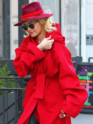 Lady in Red: Rita Ora Brightens Gray Skies in Technicolor Coat