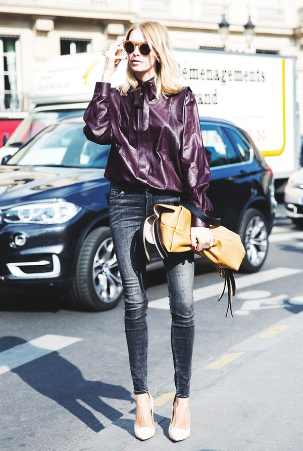 To add a luxe vibe to your look, wear a leather top with sleek, black skinny jeans and pointed-toe heels.