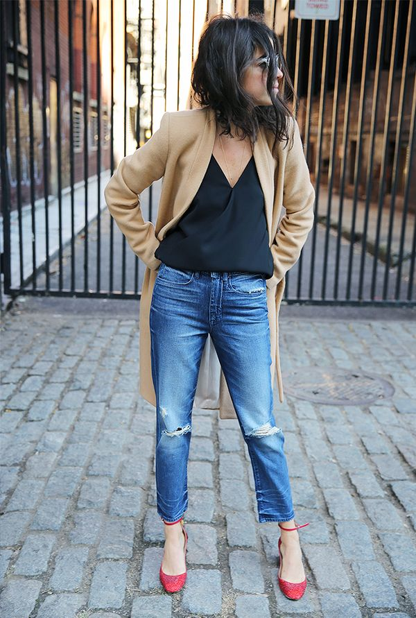 Combine cropped denim with a black camisole, classic tan coat, and sparkly shoes for a look that's but not over the top.
