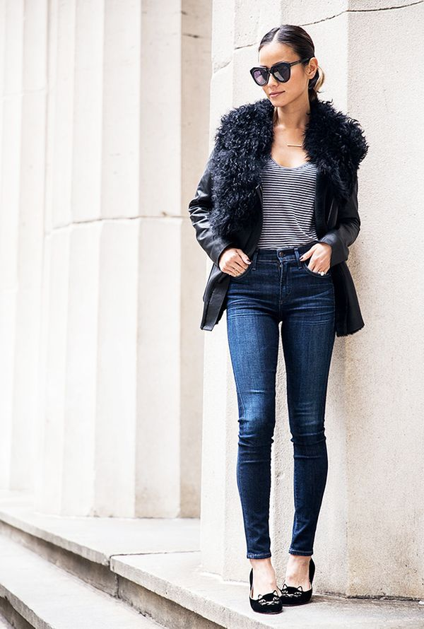 Layer a textured jacket over a laid-back denim look to make your ensemble appropriate for evening.  