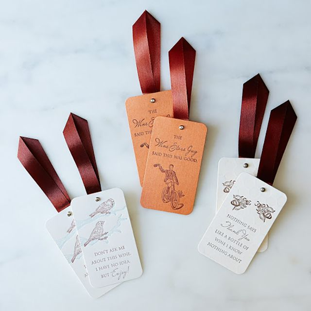 Popptags Set of 6 Letterpressed Witty Wine Tags