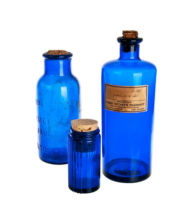 Second Shout Out Set Of Three Vintage Cobalt Blue Apothecary Bottles