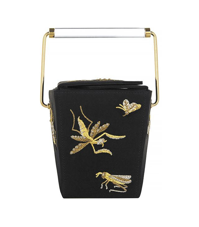 Charlotte Olympia Take Me Away Embroidered Satin-Crepe Clutch