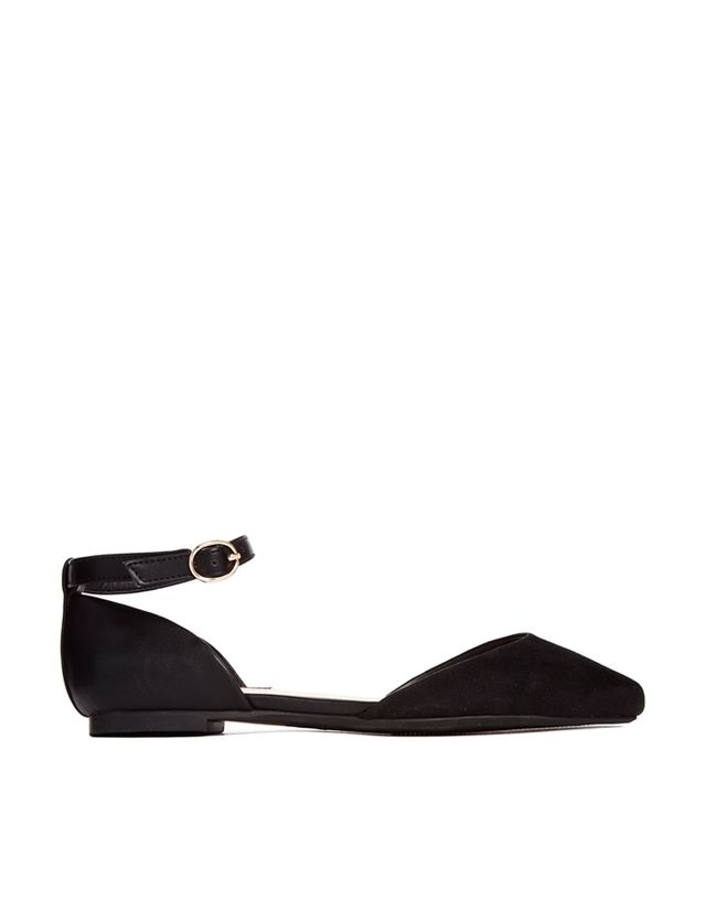 London Rebel Ankle Strap Pointed Flat Shoes