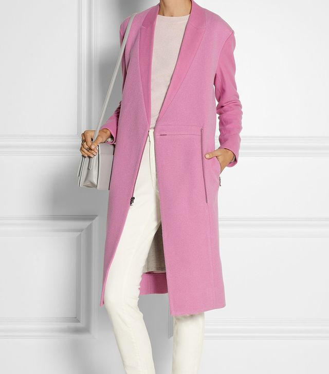 Tibi Paneled Bouclé and Wool-Felt Coat
