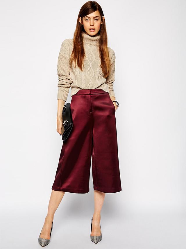 ASOS Premium Satin Crepe Culottes