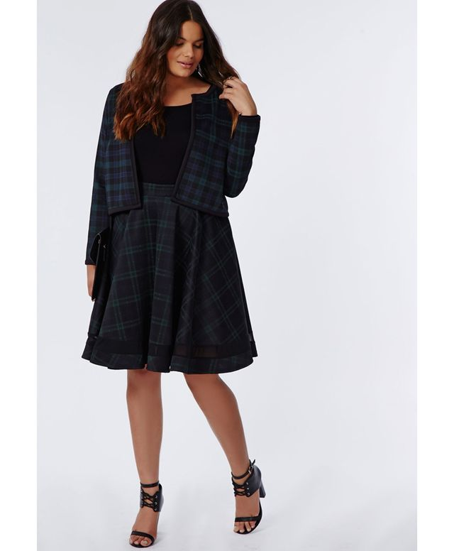Missguided Plus Size Tartan Mesh Panel Skater Skirt