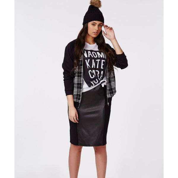 Missguided Plus Size PU Illusion Panel Midi Skirt