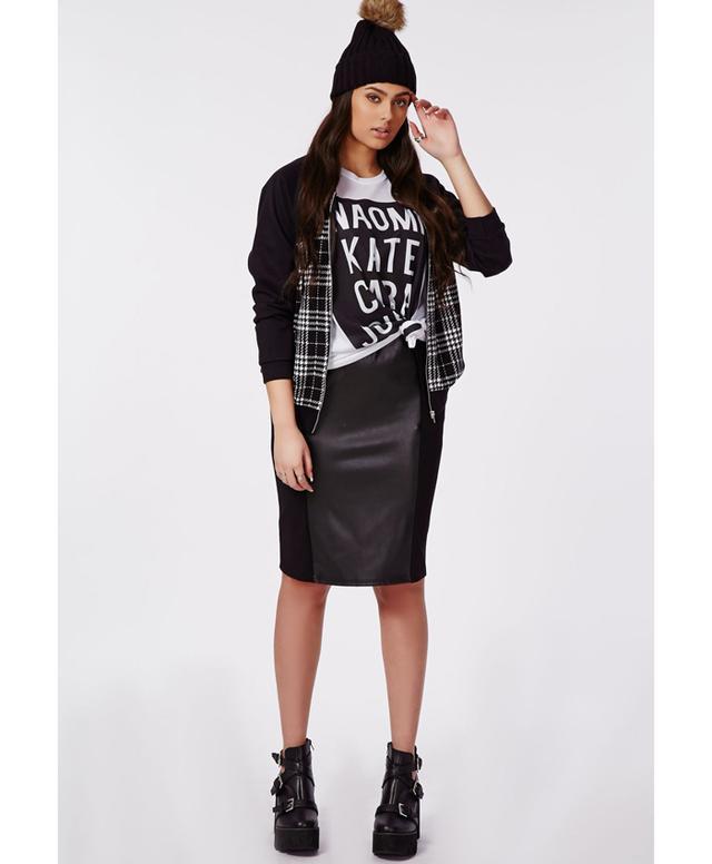 Missguided Plus Size PU Illusion Panel Midi Skirt