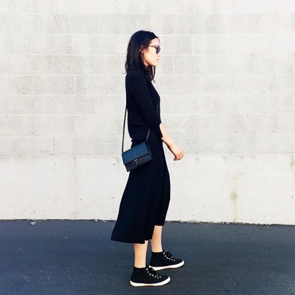 Andyheart is wearing: Oyuna sweater, PB 0110 bag, Superga sneakers.  Get The Look: Adidas Superstar II Toe Cap Black Sneakers ($118)  See more ways to wear black sneakers on Pose.com.