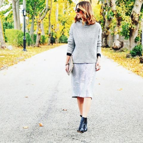Sequin Skirt Street Style