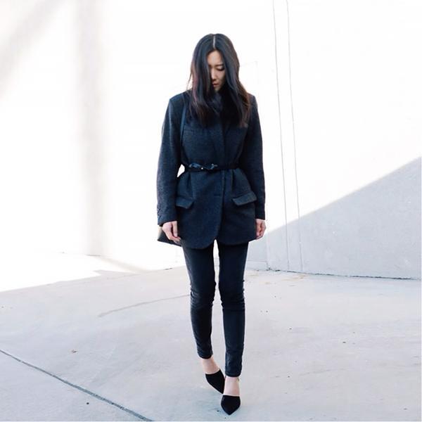 Andyheart is wearing: Isabel Marant coat, Acne Studios jeans, Everlane belt, Zara heels, Mansur Gavriel shoulder bag.  Get The Look: Delman Pointed Toe D'Orsay Brice High Heel Pumps...