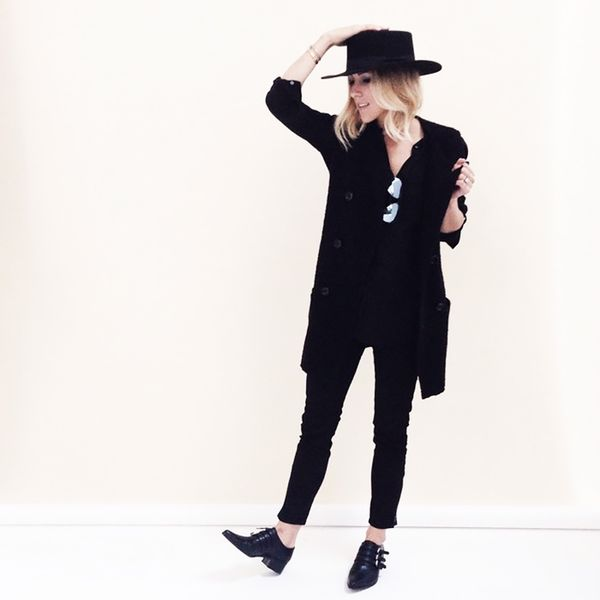 Damselindior is wearing: Janessa Leone hat, Zara vest, LOFT jeans, Tabitha Simmons flats.  Get The Look: Frame Denim Le Skinny de Jeanne Mid-Rise Jeans ($185)  See more ways to wear black...