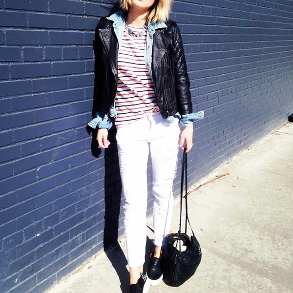 Helenisfor is wearing: ASOS jacket, Joe Fresh top, Zara jeans, Sandro sneakers, Bottega Veneta bag.  Get The Look: J Brand Super Skinny Distressed Mid-Rise Jeans ($185)  See more ways to wear...