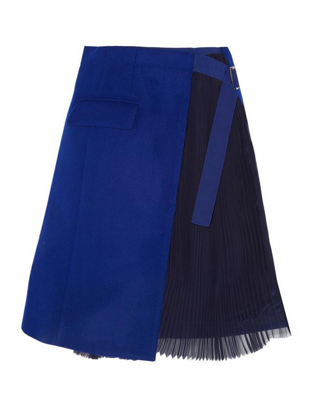 Sacai Wool-Felt and Pleated Chiffon Wrap Skirt